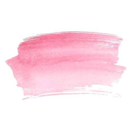 Trazos de pincel acuarela abstracta rosa pintado de fondo. Papel de textura. Ilustración vectorial.