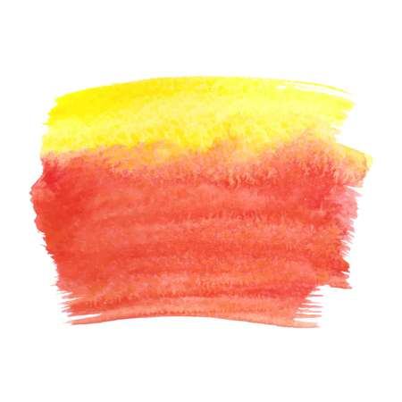 Yellow red abstract watercolor brush strokes painted background. Texture paper. Vector illustration.