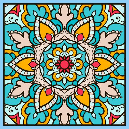 Mandala. Ethnic decorative element. Hand drawn backdrop. Islam, Arabic, Indian, ottoman motifs. Boho style.