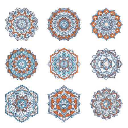 Set of mandalas. Ethnic decorative elements. Islam, Arabic, Indian, ottoman motifs. Boho style.