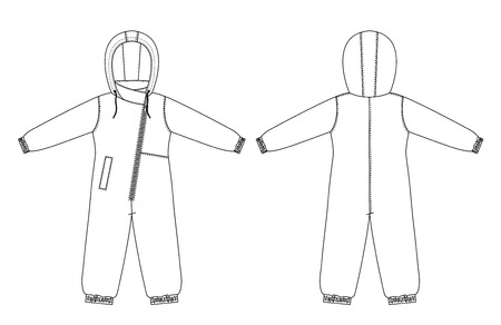 technical drawing of childrens winter overall with raglan sleeves Illustration