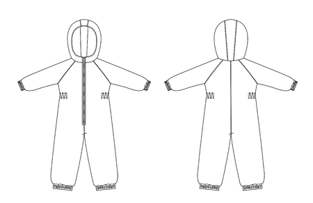 technical drawing of childrens winter overall with raglan sleeves Çizim