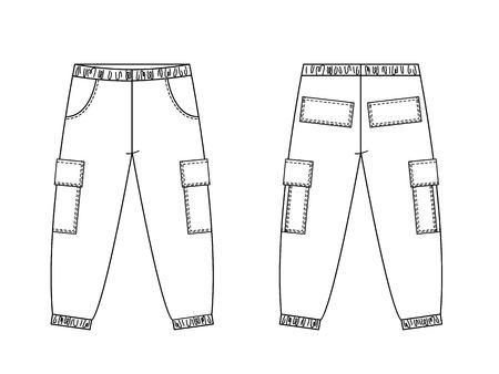 Rysunek techniczny mody dziecięcej. Spodnie cargo dla dzieci z naszywanymi kieszeniami. Widoki z przodu i z tyłu