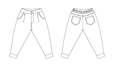Technical drawing of children's fashion. pants with pleats and cuffs for kids. Front and back views