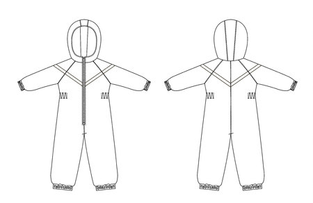 technical drawing of childrens winter overall with raglan sleeves Ilustracja