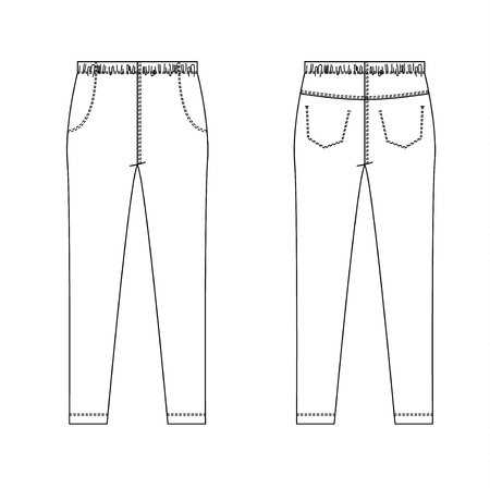 Technical drawing of children's fashion. Jeans pants with pockets for kids. Front and back views