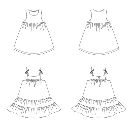 Technical drawing of children's fashion. Summer dress with a frill for Girls. Detailed vector drawing. Front and back views