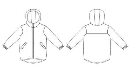 Technical drawing of childrens fashion. childrens hooded windbreaker. Front and back views