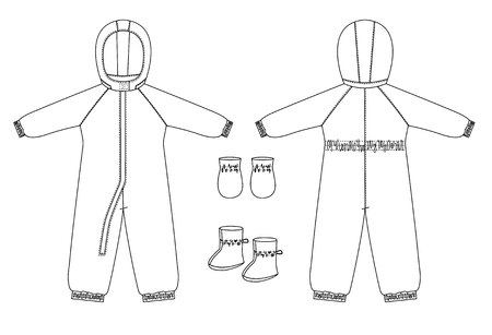 technical drawing of children's winter overall with raglan sleeves. Front and back views