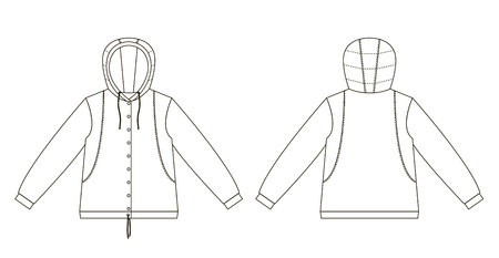 Technical drawing of childrens fashion. childrens jacket with a hood. Front and back views Ilustracja