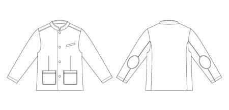 Technical drawing of children's fashion. Boys jacket with stand collar and pockets. Front and back views Stok Fotoğraf - 123578536