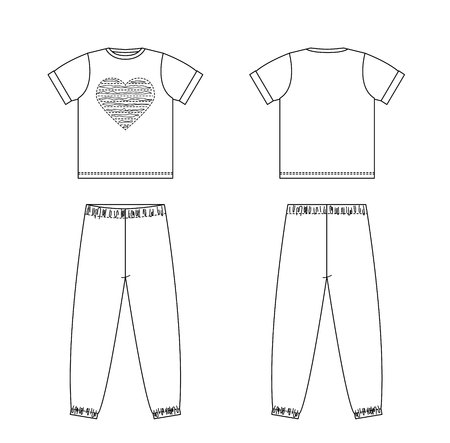 Technical drawing of childrens fashion. Childrens pajamas with heart Front and back views
