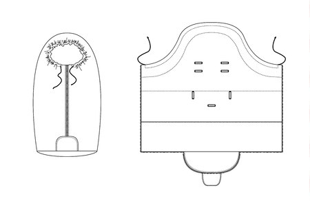 technical drawing of children's winter baby sleeping bag. Front and back views. Illustration