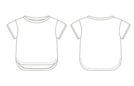 Technical drawing of childrens fashion. Childrens t-shirt with cuffs on the sleeves. Front and back views