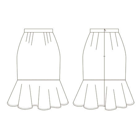 Technical drawing of womens fashion. Womens A-line skirt.
