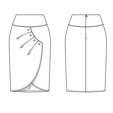 Technical drawing of womens fashion. Womens wrap skirt.
