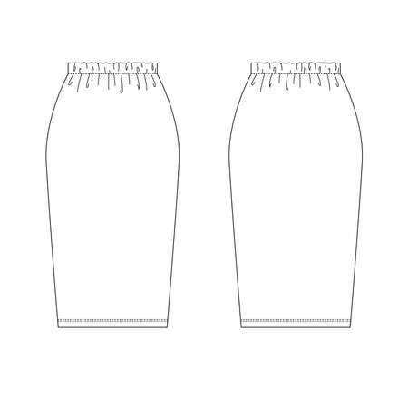Technical drawing of womens fashion. Womens pensil jersey skirt.
