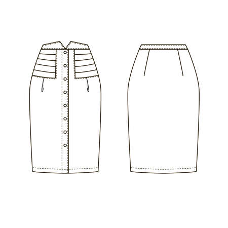 Technical drawing of womens fashion. Womens button-down high-wasted skirt. Ilustracja
