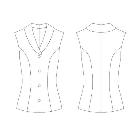 Technical drawing of womens fashion. Womens single-breasted vest with shawl lapel Ilustracja