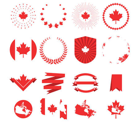 Canada day. Decorative elements, set of greetings or elemants for banner , paper, decorative background. Vector illustration
