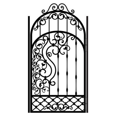 Steel railing panels that include balls, flowers, leaves and rosettes. Use these decorative iron cross bars to create a unique window guard or balcony railing. Aluminum handrail. Vector construction
