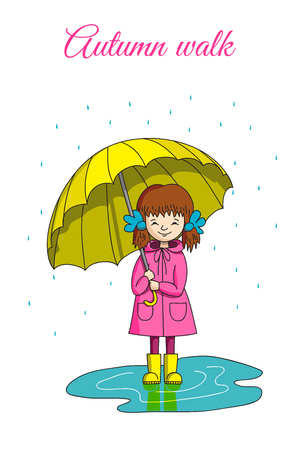 A girl with a bow in a pink raincoat and yellow boots standing in a puddle, holding a yellow umbrella. Its raining.