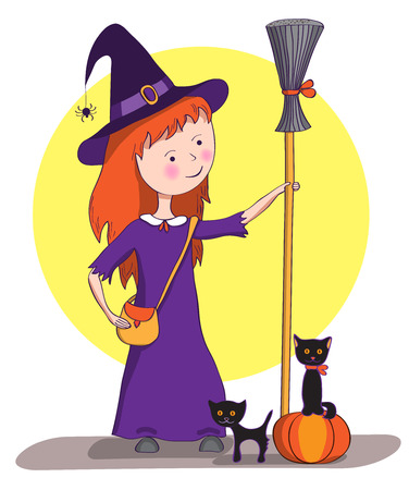 coven: Little witch with broom and pumpkin and black kittens. Illustration