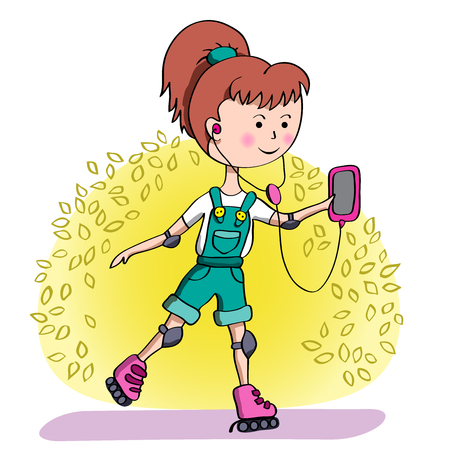 elastic band: Girl rollerblading in the Park and listening to music in headphones.