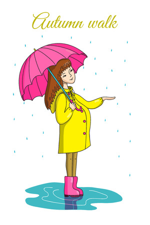 autumn woman: Autumn walk. Illustration drawn by hand. The woman in the raincoat and boots with an umbrella standing in a puddle. Its raining. Illustration