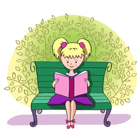 personas leyendo: Girl reading on a bench in the Park