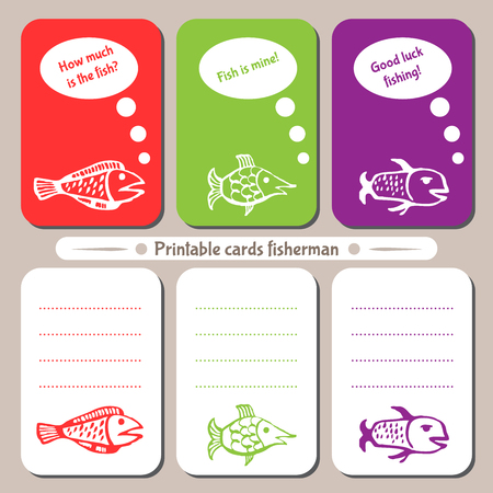 printable: Printable cards fisherman. You can print cards, notepads and a recording sheet.