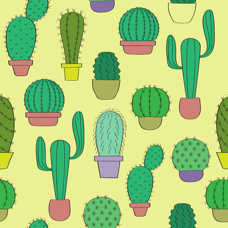 cactus botany: Background with cacti. Cactus on a yellow background. Seamless pattern