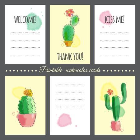 taking notes: Cards to print with images of cacti and text. The watercolor effect. Can be used as notebook paper for taking notes.