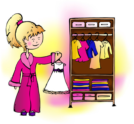 clothing rack: Girl in pink robe removes white dress in the closet.