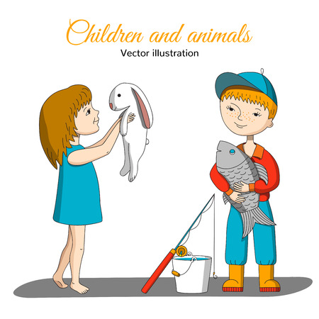stroking: Children and animals. Girl holding a rabbit. The boy caught a very big fish.