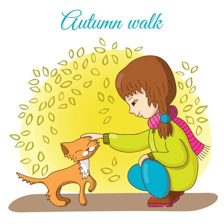 stroking: Autumn walk. Girl in trousers and jacket stroking ginger kitten.