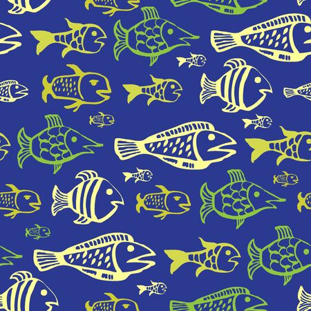 phosphorus: Fishes seamless pattern. Fish, drawn by hand, on a blue background. Seamless background. Illustration