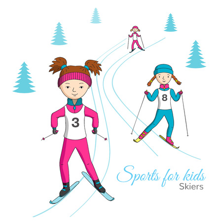 competitions: Sports for kids. Ski competitions. Girls ride on skis.