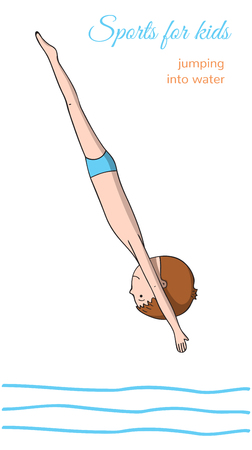 somersault: Sports for kids. Jumping into the water. Boy in the process of the jump.