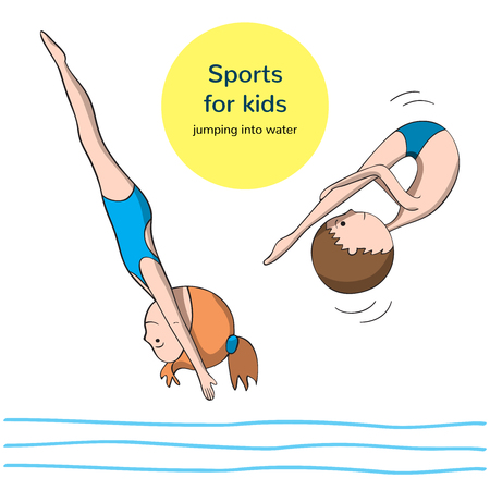 jumping into water: Sports for kids. Jumping into the water. Boy and girl in the process of the jump. Illustration
