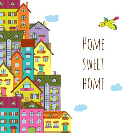 Home sweet home. Hand-painted multi-colored houses and trees a white background. 일러스트