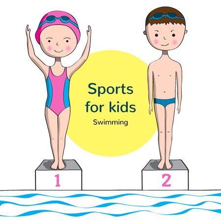 swim wear: Sports for kids. Swimming. Boy and girl in swimsuit near the pool. Illustration