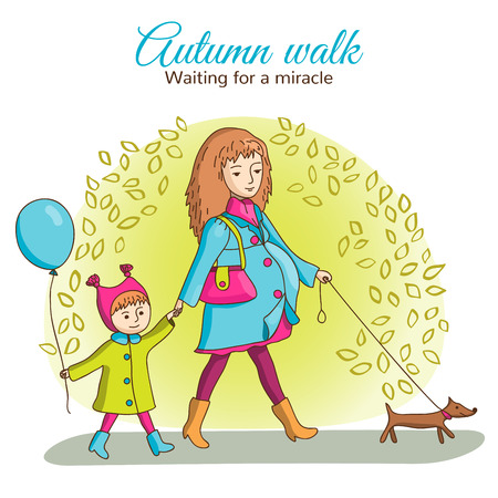 Pregnant woman walking with a girl and a dog. Girl holding a balloon. A dog on a leash. Autumn. People are wearing coats.