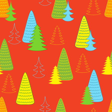 new look: New year orange background with Christmas trees. Will look good on paper for packing gifts for Christmas.