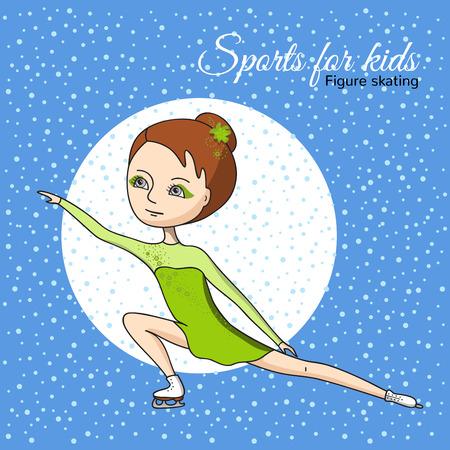 tanzen cartoon: Eiskunstlauf. M�dchen spielen in einem gr�nen Kleid.