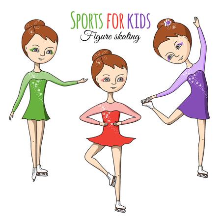 Eiskunstlauf. Drei Mädchen in bunten Kleidern auf Schlittschuhen.