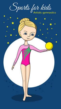 pelota caricatura: Gimnasia art�stica. Chica en un traje de ba�o de color rosa con la bola amarilla.