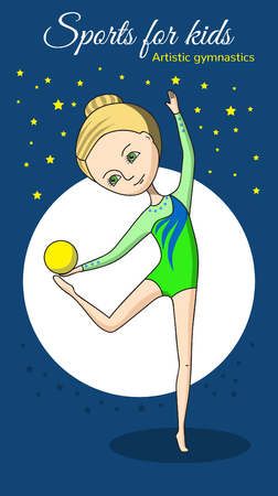 blonde teenage girl: Artistic gymnastics. Girl in a green swimsuit with yellow ball.
