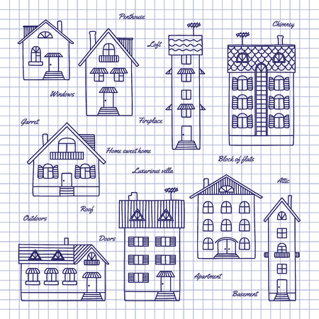 penthouse: Different houses drawn pen in a notebook.