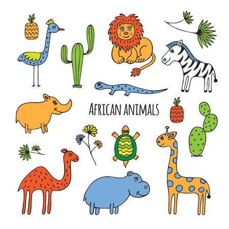 hipopotamo caricatura: Dibuje sobre el tema de �frica. Animales, aves y plantas dibujadas a mano sobre un fondo blanco.